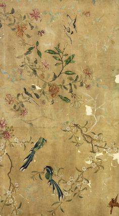 Kunst collectie - Victoria and Albert Museum - Panel of Chinese painted wallpaper - IXXI Oriental Wallpaper, Chinese Wallpaper, Chinoiserie Wallpaper, Painting Wallpaper, Wall Wallpaper, Pattern Wallpaper, Oriental Pattern, Victoria And Albert Museum, Painted Paper