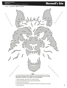Werewolf's Grin free pattern by Pumpkin Masters. Want to print this out? Click on the pin's image, print it out and voila! Pumpkin pattern perfection.