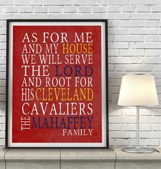 "Cleveland Cavaliers basketball inspired Personalized Customized Art Print- ""As for Me"" Parody- Unframed Print"