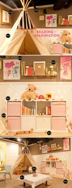playroom ideas and inspiration - I especially like the idea to put the gold confetti dots on the white shelves