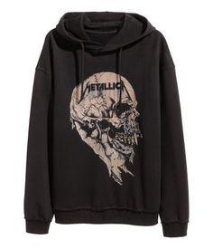 Printed Hooded Top   Black/Metallica   Men   H&M US