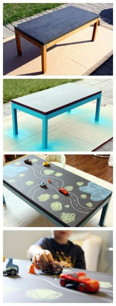 DIY Chalkboard Table for kids! Could be a road could be a castle or an ocean filled with fish...Must do