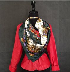 """This is a lovely luxury designed scarf. The multi-color allows it to be dressed up formally, or casually worn with a favorite pair of jeans. The length is 33"""",and measures 34.5"""" when worn around the waist.    This item ships immediately. 📦 Also available for local pick up in Sacramento, CA. 