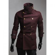 Slimming Solid Color Turndown Collar Double - BURGUNDY L