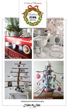 Christmas JUNK Decor - a festive themed link party, part of 12 Days of Christmas series involving 5 blogs, via Funky Junk Interiors