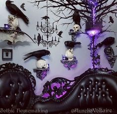 Aurelio voltaires living room is so perfect! goth gothic gothichome homeinspo decor skulls raven occult witches diy upholstered gothic memo board black victorian pin board goth home decor Goth Home Decor, Disney Home Decor, Hippie Home Decor, Fall Home Decor, Gothic Home, Gothic Hippie, Goth Bedroom, Gothic Bedroom Decor, Halloween Living Room