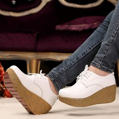 Wedges Single Shoes Spring And Autumn Women's Genuine Leather Pigskin Lace Up Round Toe Platform Women's Shoes