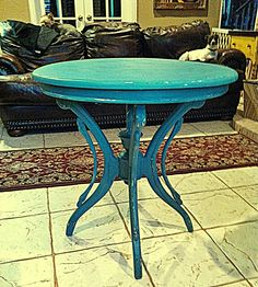 A table I refinished for a nice young woman who found some of my work on Craigslist and asked if I would refinish her white table to turquoise ta da!  Shabby Chic, Distressed Furniture.