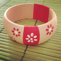 Wooden bracelet with red flowers Made by Juja.