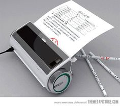 Turns paper into pencils. This would be so awesome to have in the classroom.