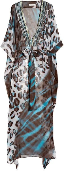 Diane Von Furstenberg Blue Anushka Embellished Silk-chiffon Maxi Kaftan