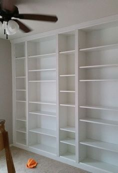 diy IKEA library wall billy built in bookcases