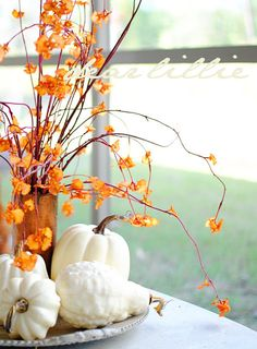 white pumpkins and gourds, I would paint the branches black to feel more Halloween and less Fall. by marjorie Fall Mantel Decorations, Decoration Table, Thanksgiving Decorations, Thanksgiving Mantle, Thanksgiving Games, White Pumpkins, Fall Pumpkins, Fall Home Decor, Autumn Home