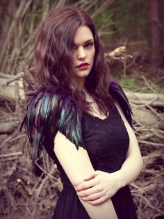 Purple and black feather epaulette shoulder pieces by rougepony