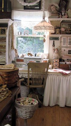 The doll's head freaks me out but it is a beautiful sewing space. Sewing Spaces, My Sewing Room, Sewing Rooms, Craft Room Storage, Room Organization, Craft Rooms, Coin Couture, Shabby Chic, Space Crafts