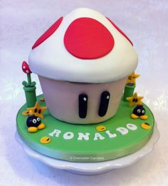 Giant Cupcake - Mario Kart Toad by Cirencester Cupcakes, via Flickr cake