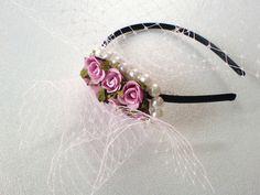 Wundervolles Headpiece/ Haarreif in tollen rosa Hochzeitstönen. Es ist ein Traum für jede Braut.  Das Headpiece ist ein Unikat und wurde handgef...