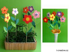 Autor i-creative i-creative. Spring Crafts, Art School, Origami, Crafts For Kids, Jar, Children, Flowers, How To Make, Handmade
