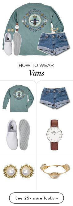 """I wish we could turn back time to the good ol' days"" by kaley-ii on Polyvore featuring Queen Bee, Vans, Daniel Wellington, Kendra Scott and Bourbon and Boweties"