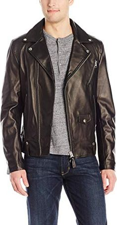 smith-rhyner Mens Full Sleeves Genuine Leather Snap Collar Motor Cycle Black Shirt Jacket