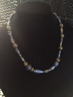 Handmade 20 inch necklace blue-purple-green gas effect