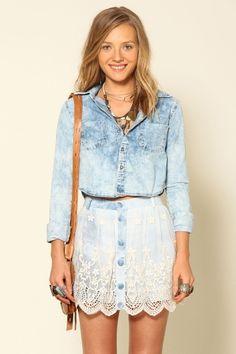 vestido saia jeans renda