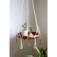 Cotton & Jute Hanging Table Planter w/ Cotton Tassels