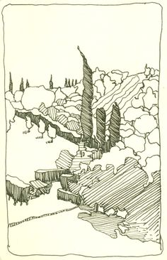 Travel Sketches   ChrisCarter-Artist - Les Bassacs vista, Provence, France - pen and ink