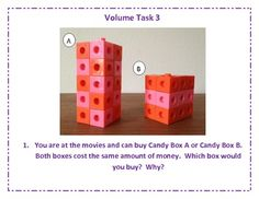Volume Tasks for Upper Grade Math Centers by Leslie Meadows - love this idea! Big Ideas Math, Teaching Math, Math 5, Math Teacher, Math Classroom, Future Classroom, Classroom Ideas, Fifth Grade Math, Math Measurement