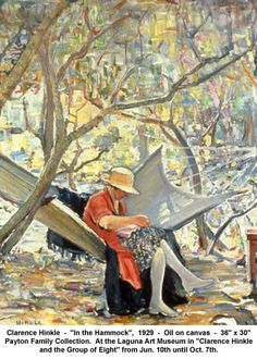"""artwork: Clarence Hinkle  -  """"In the Hammock"""",  1929  -  Oil on canvas  -  36"""" x 30"""" Payton Family Collection.  At the Laguna Art Museum in """"Clarence Hinkle and the Group of Eight"""" from Jun. 10th until Oct. 7th."""