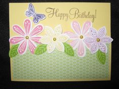 Card made with Close To My Heart stamp set Pretty Petals using our new ink colors: thistle, canary, pixie I also used gypsy