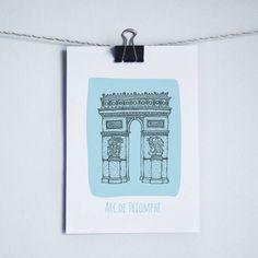 'Arc De Triomphe' Paris Illustrated Print