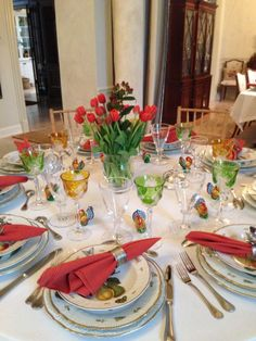 Thanksgiving table featuring Anna Weatherley's Hand Painted dinnerware
