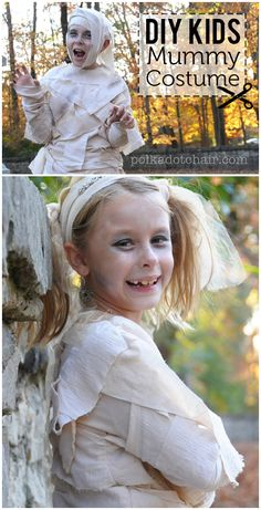 Learn how to make a kids mummy costume with this simple DIY Mummy Tutorial. Cute Costumes for kids for Halloween that you can make. Kids Mummy Costume, Cute Costumes For Kids, Woman Costumes, Couple Costumes, Group Costumes, Easy Sewing Projects, Sewing Hacks, Sewing Tips, Simple Projects