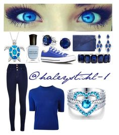 """""""how to bring out blue eyes"""" by haleyandgreenlee ❤ liked on Polyvore featuring Deborah Lippmann, Converse, Bling Jewelry, CZ by Kenneth Jay Lane, Monet and Marc by Marc Jacobs"""