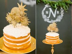 I am lovinnnngggg rustic, half-frosted cakes! Frost inbetween the tiers, and leave the rest golden and bare!