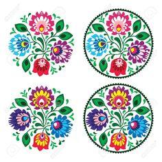 Bordado Ronda Ethnic Con Flores - Patrón Tradicional Vendimia De Polonia Ilustraciones Vectoriales, Clip Art Vectorizado Libre De Derechos. Pic 19693404.