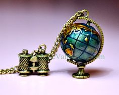 Globe and Brass telescope pendant necklace, Travel the world with your friends