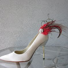 Red And Brown Feathered Shoe Clips Set by Chuletindesigns on Etsy, $25.00
