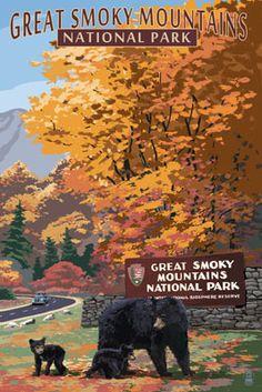 Park Entrance & Bear Family - Great Smoky Mountains National Park, TN - Lantern Press Poster