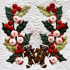 "Gingerbread men block from ""Baltimore Christmas"" Applique quilt by Miriam Meier"