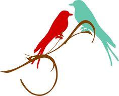 Love Birds Branch Clip Art