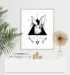 Items similar to Lunar Hare with Constellations and Bones Luxury Pen & Ink Illustration Print - or on Etsy Luxury Pens, Ink Illustrations, Hare, Constellations, Bones, I Shop, Unique Jewelry, Handmade Gifts, Etsy