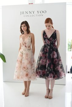 Jenny Yoo Bridesmaids • 'Sabrina' Dress • floral print organza with a tea length taffeta circle skirt // surplice bodice with delicate spaghetti straps for a feminine silhouette