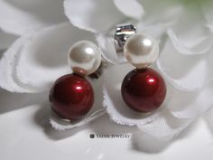 Double Pearl Earrings in White & Bordeaux, Snowman Earrings, Personalized Earrings, Sterling Silver Post, Quality Pearls by YaesilJewelry on Etsy Double Pearl Earrings, Bordeaux, Snowman, Pearls, Sterling Silver, Trending Outfits, Unique Jewelry, Handmade Gifts, Etsy