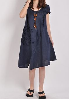 Summer dress short sleeve dress shirt Loose Blouse gown by MaLieb, $72.00