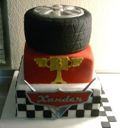 """Cars birthday cake put """"chow"""" on top instead of 3rd layer"""