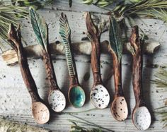 Ceramic Forest Tea Spoons Set , handmade pottery rustic Unique white and brown ceramic spoon. Hand made in forest workshop, created with hands modeling. Material used - organic clay, foodsafe glaze, and organic milk. Size cm Different colors and s