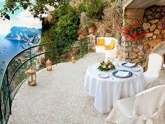 Alfresco on theTerrace at Hotel Caesar Augustus in Capri, Italy Capri Italia, Porches, Wonderful Places, Beautiful Places, Romantic Places, Amazing Places, Places To Travel, Places To Go, Time Travel