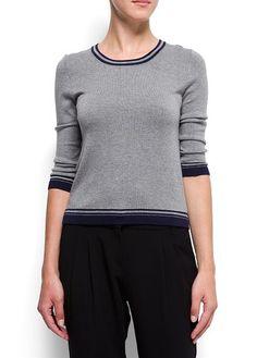Sweter z kontrastowymi lamówkami